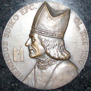 Jindřich Zdík - Detail of memorial plaque dedicated to Jindřich Zdík in Saint Wenceslas cathedral in Olomouc (Czech Republic).