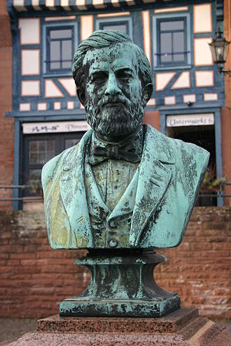 Reis monument in Gelnhausen: In 1878 European scientists declared Reis to be the telephone's inventor Johann Philipp Reis-Gelnhausen.JPG