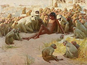 Kaa's Hunting - Mowgli among the Bandar Log. Painting by John Charles Dollman.