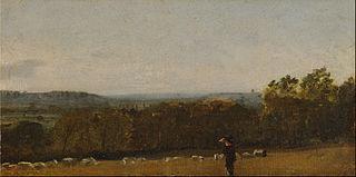 A Shepherd in a Landscape looking across Dedham Vale towards Langham