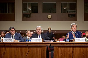 114th United States Congress - Secretary of State John Kerry, Secretary of Energy Ernest Moniz, and Secretary of the Treasury Jack Lew defending the Joint Comprehensive Plan of Action at a hearing of the Senate Foreign Relations Committee on July 23, 2015