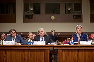 Joint Comprehensive Plan of Action - Secretary of State John Kerry, Secretary of Energy Ernest Moniz, and Secretary of the Treasury Jack Lew defending the JCPOA at a hearing of the Senate Foreign Relations Committee on 23 July 2015