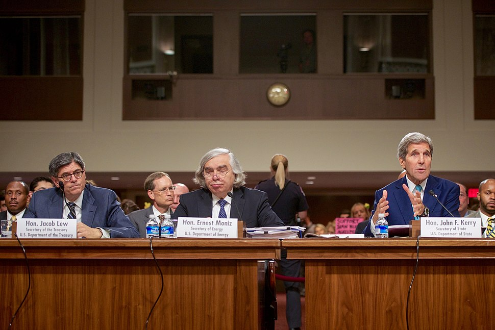 John Kerry, Ernest Moniz and Jack Lew defending the Joint Comprehensive Plan of Action (19759429878)
