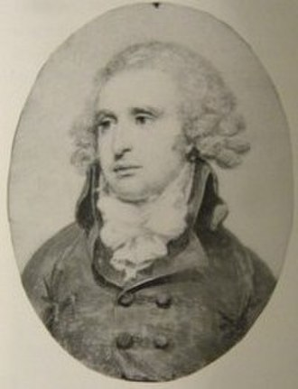 John Mathews (lawyer) - Reproduction of watercolor on ivory miniature attributed to Richard Cosway.