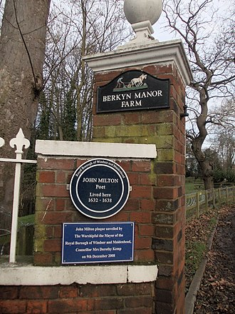 John Milton - Commemorative blue plaque 'John Milton lived here 1632–1638' at Berkyn Manor Farm, Horton, Berkshire