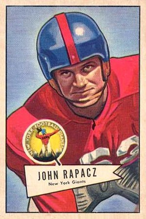John Rapacz - Rapacz on a 1952 Bowman football card