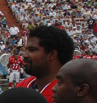 Baltimore Ravens - Jonathan Ogden at the 2006 Pro Bowl. Ogden played offensive tackle for the Ravens from 1996 through 2007 and was elected to the Pro Football Hall of Fame in 2013.