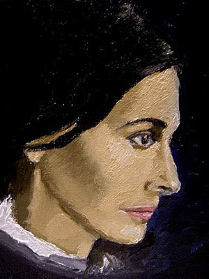 Children of the Century - Study from life of Juliette Binoche as George Sand by Reginald Gray 1999. (collection Mrs. Fran Robinson, Yorkshire, UK.)