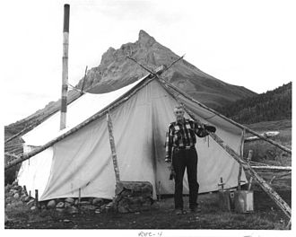 Junjik Valley man and wall tent. Picture from the U.S. Fish and Wildlife Service, July 1973 Junjik Valley Man and Wall Tent picture from the U.S. Fish and Wildlife Service.jpg