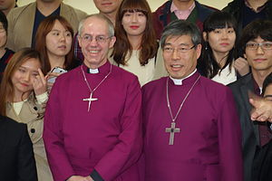 Justin Welby - Welby and Paul Kim, Primate of the Province of Korea, at Seoul Cathedral in 2013