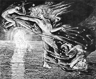 Phosphorus (morning star) - Stanisław Wyspiański: Phosphoros, Eos, Helios, Hesperos. Pencil drawing, The National Museum in Warsaw, 1897