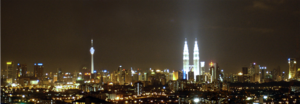 The skyline of Kuala Lumpur from Cheras at night.