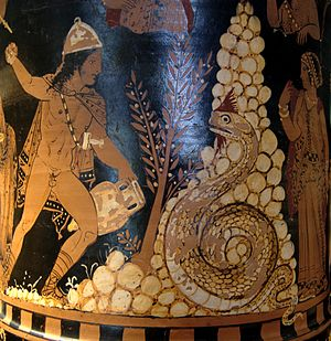 Cadmus - Cadmus fighting the dragon. Painting from a krater in the Louvre Museum.