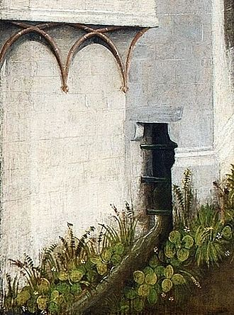 Sewage - Sewage canal of a medieval house as depicted in 1447 St. Barbara Altarpiece in the National Museum in Warsaw.
