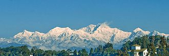 Environmental policy of India - Himalayan peaks in eastern India on a day without haze.