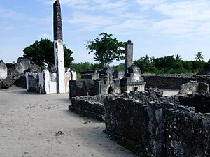 Kaole - Kaole ruins including remains of an old mosque and some graves (2011)