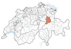 Map of Switzerland, location of کانتون گلاروس highlighted