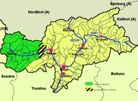 vinschgau karte Vinschgau   Wikipedia, den frie encyklopædi