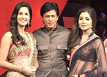 Shah Rukh Khan with Jab Tak Hai Jaan co-stars Katrina Kaif and Anushka Sharma