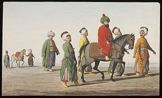 Kaymakam - The kaymakam in Constantinople with his attendants, anonymous Greek painter, ca. 1809