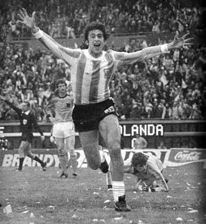 Mario Kempes - Kempes celebrating his goal at the 1978 FIFA World Cup final match v. Netherlands.