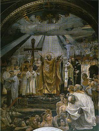 History of Christianity in Ukraine - The Baptism of Kievans, a fresco by Viktor Vasnetsov.