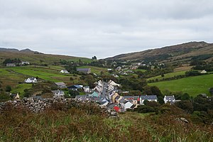 Kilcar - View from the monastic site at the old church down to the village, looking east. The R263 is to be seen as it leaves Kilcar in direction to Killybegs