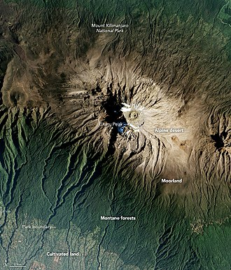 Mount Kilimanjaro - Mount Kilimanjaro from space, illustrating its diverse vegetation zones.