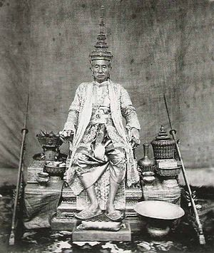 Coronation of the Thai monarch - King Mongkut (Rama IV) seated on the throne wearing the royal regalia, was the first Thai king to be photographed.