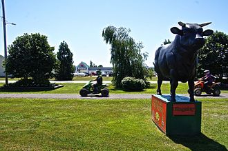 Kingston, Nova Scotia - A statue of a steer stands facing Main Street, representing the steer barbecue event held annually in the town square.