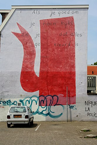 K. Schippers - An urban mural by Klaas Gubbels incorporating a poem by Schippers