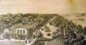 Taarbæk - Klampenborg Spa viewed on a lithography from 1888