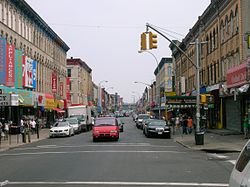 Knickerbocker Avenue in 2006; it is a main shopping street south of Maria Hernandez Park.