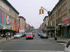 Bushwick, Brooklyn - Knickerbocker Avenue in 2006; it is a main shopping street south of Maria Hernandez Park.