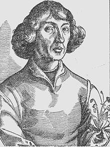 """Kopernikus-Porträt aus dem Holzschnitt in Nicolaus Reusners """"Icones"""" (1578), der vermutlich von Tobias Stimmer nach einem angeblichen Selbstporträt von Kopernikus gefertigt wurde. Dieses Porträt wurde zur Vorlage einer Reihe weiterer Holzschnitt-, Kupferstich- und Gemälde-Porträts von Kopernikus. (Quelle: Wikimedia)"""