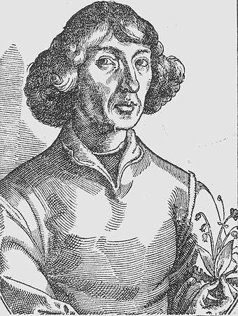 Portrait of Copernicus holding a lily of the valley, published in Nicolaus Reusner's Icones (1587), based on a sketch by Tobias Stimmer (c. 1570), allegedly based on a self-portrait by Copernicus. This portrait became the basis of most later depictions of Copernicus. Kopernikus, Nikolaus - Reussner 1578 Portrait1.jpg