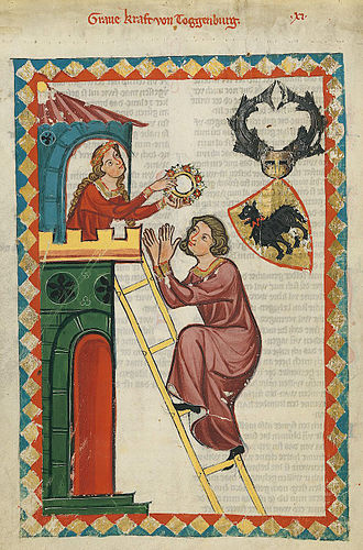 Elevated entrance - Ascent by wooden ladder (Codex Manesse)