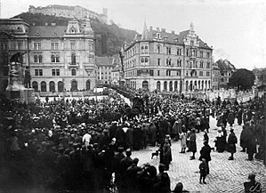 Slovene People's Party (historical) - The funeral of Janez Evangelist Krek in Ljubljana in 1917 turned into a manifestation of the Party popular support.