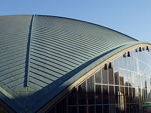 Copper in architecture - Detail of roofline at Kresge Auditorium, Massachusetts Institute of Technology, in the U.S.