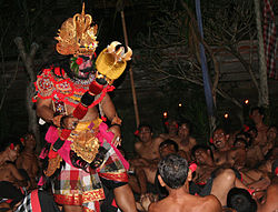 The giant Kumbhakarna from the Ramayana epic, here in a Kecak performance in Ubud, Bali.