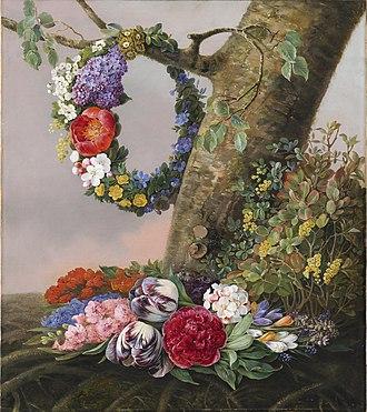 Christine Løvmand - Christine Løvmand: En buket blomster ved foden af et træ