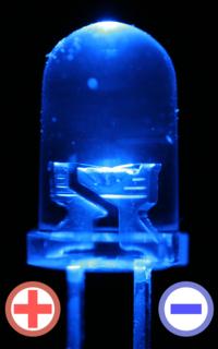 発光部の拡大図。+/-で示されるのが端子の極性。発光素子の乗っている側のリードがカソード(負極)の製品が多い。