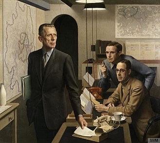 Ernest Gowers - Gowers (left) with Lt Col A J Child, Director of Operations and Intelligence, and K A L Parker, Deputy Chief Administrative Officer, in the London Regional Civil Defence Control Room, 1943, by Meredith Frampton