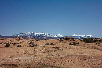 Slickrock Trail - The La Sal Mountain Range as seen from Slickrock Trail, April 2005