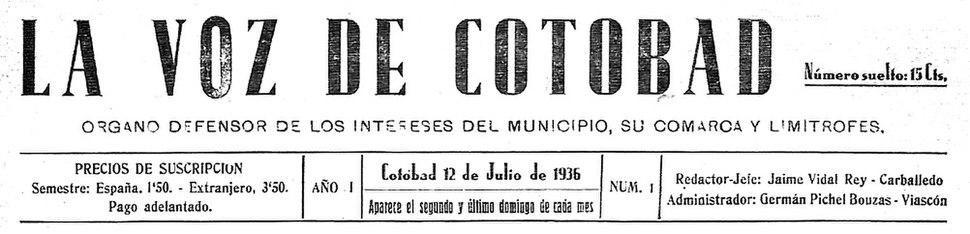 Cabeceira de La Voz de Cotobad, que Fraguas dirixiu, 1936.