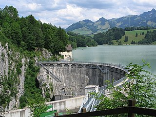 Lac de Montsalvens lake in the Canton of Fribourg, Switzerland