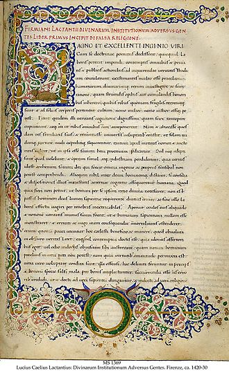 Lactantius - Beginning of Lactantius' Divinae institutiones in a Renaissance manuscript written in Florence ca. 1420–1430 by Guglielmino Tanaglia