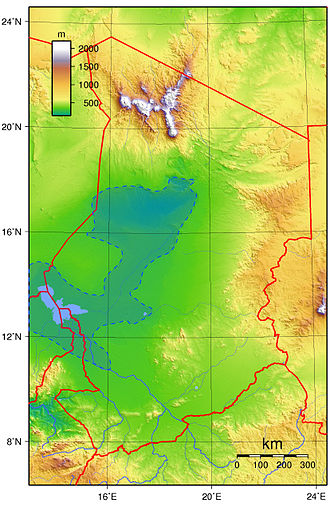 "Lake Chad - Maximum extension of the Holocene ""Lake Mega-Chad"" (green-blue area limited by a blue dotted line)"
