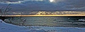 Lake surfing - Winter waves in Lake Michigan.