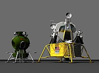 A CGI image of the Apollo LM and Soviet Lk landers.